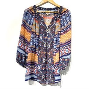 Fig and flower boho peasant style patterned top